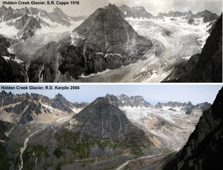 Hidden Creek Glacier 1916 and 2004