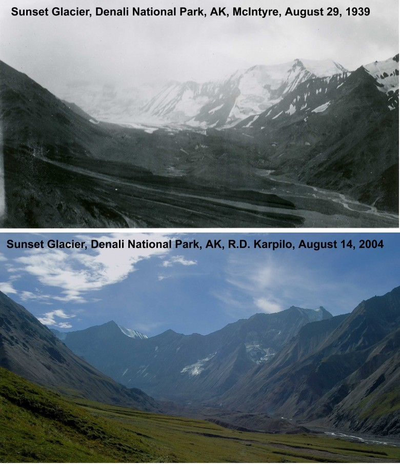 Sunset Glacier 1939 and 2004